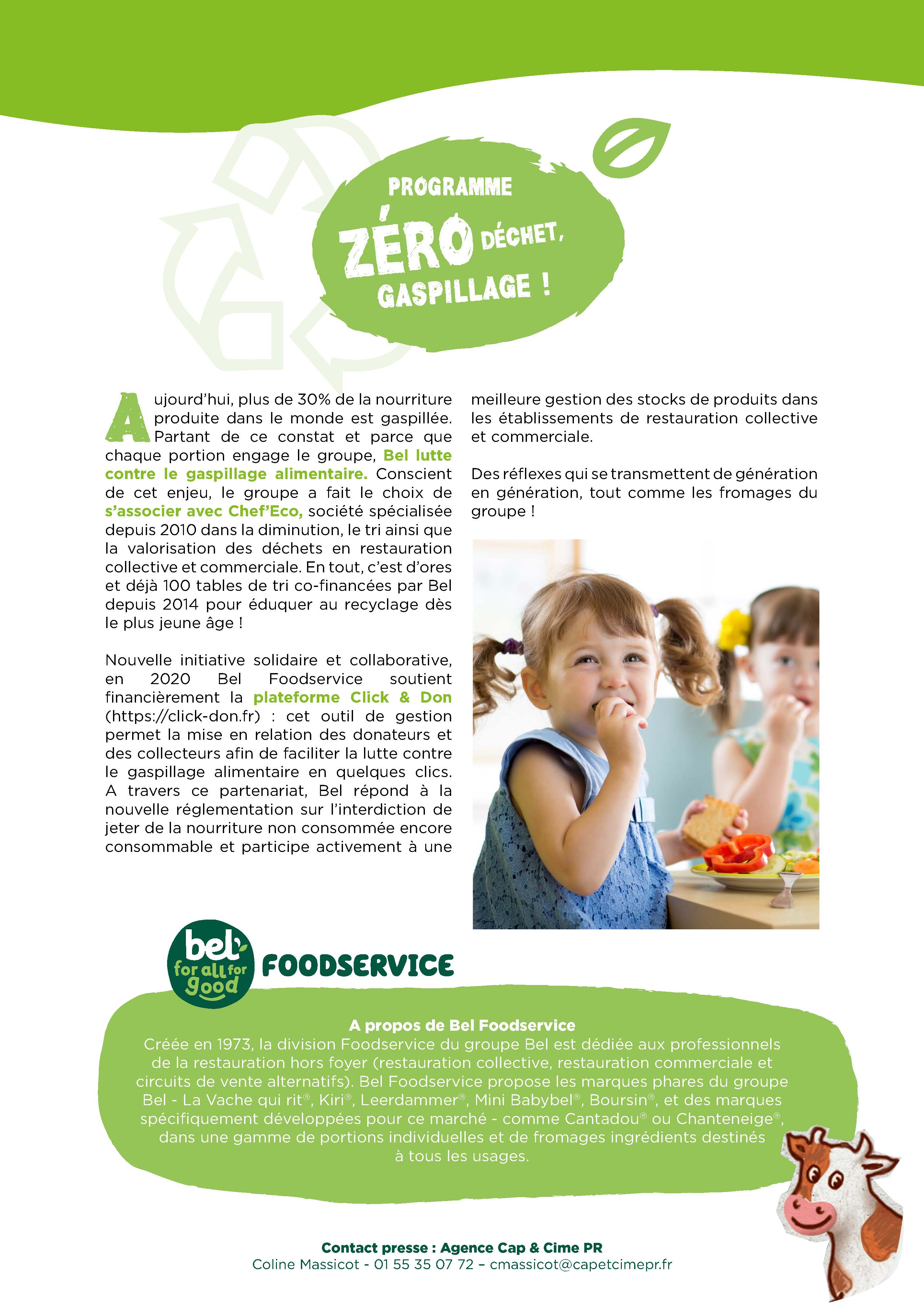 don alimentaire groupe BEL association caritative lutte anti gaspillage alimentaire zero gaspi collecte dons alimentaires